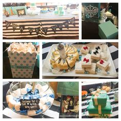 Loved to help make my wifey's baby shower that much more memorable. The sign Chris made with tattoos they both have, Baby & Co popcorn boxes, Tiffany boxes with gifts for all the guests, the kisses, & homemade cheesecake & baby vanilla cakes. The only thing I can't take credit for is her amazing cake! Not pictured were bowls for her cravings: ice cream, Cheetos, & Cuties. Plus Tiffany blue rock candy in champagne flutes & Madelines cookies, as well as Tiff blue & white cupcakes. And tons of…