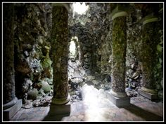 Goldney Grotto, or the Crystal Grotto, in Bristol, England is embedded with rare mineral specimens and exotic seashells collected in the 18th Century by sea captains and others who brought them back to their wives and sweethearts.  These treasures were attached to the walls of this amazing grotto, becoming part of the architecture.  An occulous opens to the sky above, lighting the glistening crystals.       Google Image Result for…
