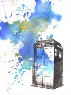Doctor Who Tardis Watercolor Painting - 5 X 7 in. print  Buy Three 5 X 7 prints, and receive one for free via Etsy