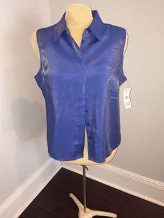 KAREN SCOTT LADIES BLUE SLEEVELESS BLOUSE   SIZE XL. NWT #KARENSCOTTSPORT…