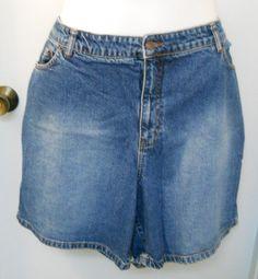 Size 26 Womens Venezia Blue Jean Denim Shorts Zipper 5 Pocket Orange Stitching #Venezia #Denim