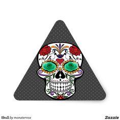 Skull Triangle Sticker #Skull #Bone #Skeleton #Flower #Rose #Holiday #Halloween #Sticker #Triangle