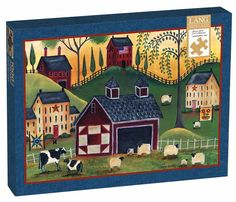 Sunrise Quilt Barn is a 1000 piece jigsaw puzzle from Lang, featuring artwork by Cheryl Bartley. Puzzle measures 29