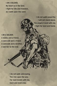 - I Am A Soldier - Soldier Poster - Krieger Epic Quotes, Dad Quotes, Badass Quotes, Wisdom Quotes, Motivational Quotes, Funny Quotes, Life Quotes, Inspirational Quotes, Encouragement Quotes