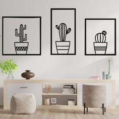 ŠTÝLOVÝ TROJDIELNY OBRAZ NA STENU - KAKTUSY | SENTOP Stencil, Mandala, Design, Home Decor, Decoration Home, Room Decor, Stenciled Table, Home Interior Design
