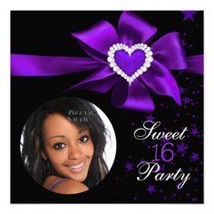 Purple Sweet 16 Birthday Party Heart Photo Invite