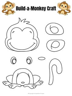 Use this cute baby monkey template to build your own monkey craft! He& the perfect zoo animal friend to take along on a field trip or creative time at home Safari Crafts, Jungle Crafts, Zoo Crafts, Monkey Crafts, Monkey Art, Animal Crafts For Kids, Toddler Crafts, Preschool Crafts, Dinosaur Crafts
