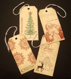 Hand Stamped VintageLook Christmas Tags by ddspaperpretties, $5.00