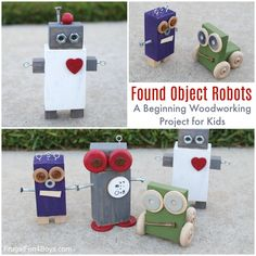 Found Object Robots: A Beginning Woodworking Project for Kids – Frugal Fun For Boys and Girls #woodworkingproject #woodworkingprojects
