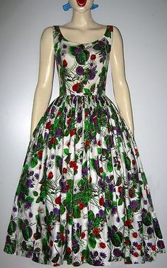 Vintage 1950s Long Floral Graphic Print Cotton FullSkirted Day Dress UK 8 | eBay