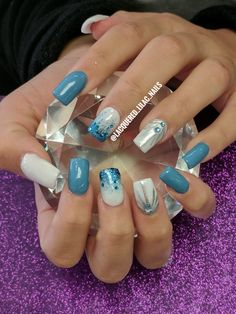 Loving this set!! Dusty blue acrylic nails. @lacquered_lilac_nails