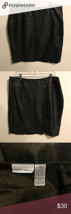 """Lined Leather Pencil Dressy Skirt black 18 38"""" waist, 24"""" long. Genuine leather skirt by Jacklyn Smith. Small slit/vent on front just off to the side of center.  Zip side closure & zipper has no problems. The inside lining along one side seam is torn, does not affect the look of the skirt since the leather is fairly heavy. Beautiful condition all around the outside. I'm 5'4 and it would hit just above the knee. Super for cooler weather! 7"""" vent  slit on the front left side. Skirts Pencil"""