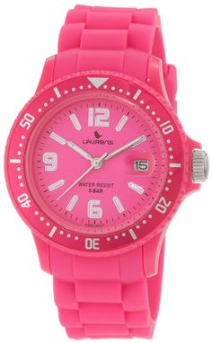 Laurens Women's GW41J902Y  Rotating Bezel Pink Rubber Watch * Review more details here