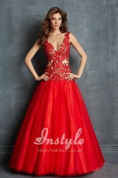 scarlet-lace-and-tulle-ball-gown-prom-dress-plunging-v-neck-1.jpg (750×1125)      jaglady