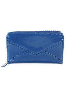 Blue patent wallet