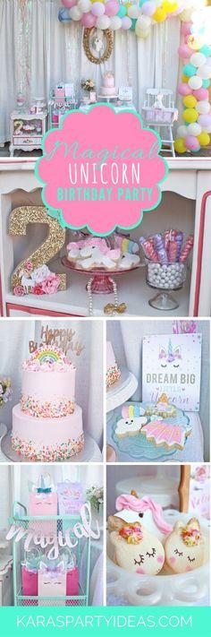 Magican Unicorn Birthday Party via Kara's Party Ideas - KarasPartyIdeas.com #partydresses