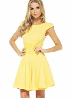 Yellow Cocktail Dress - Yellow Fit and Flare Skater | Daily dress ...