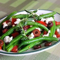 Marinated Green Beans with Olives, Tomatoes, and Feta - Allrecipes.com - I am definitely making this!