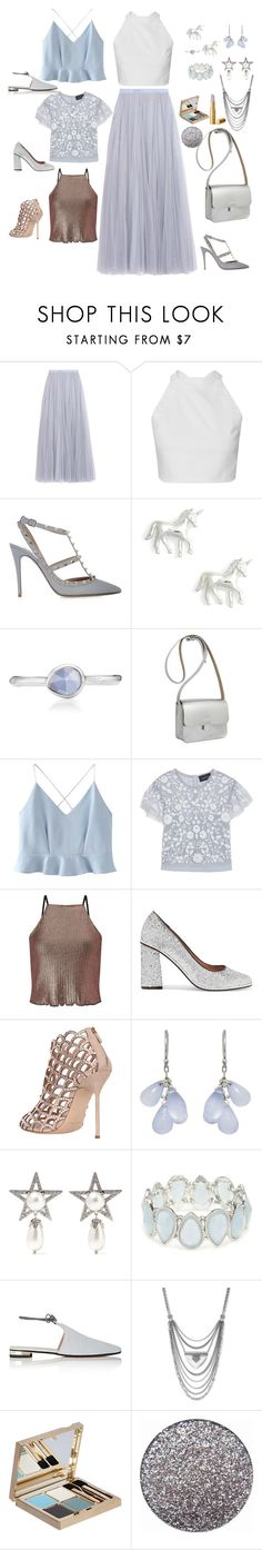 """🦄"" by hyunaluna ❤ liked on Polyvore featuring Needle & Thread, Valentino, Estella Bartlett, Monica Vinader, Kate Sheridan, WithChic, Miss Selfridge, RED Valentino, Sergio Rossi and Ten Thousand Things"