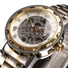 Men's Skeleton Stainless Steel Mechnical Watch with Link Bracelet