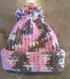 Pink Infant Baby Girl Knitted Winter Hat by JilleBeansCreations