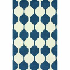 Rug Collective Handmade Modern Chess Trellis Blue Rug (5' x 8')