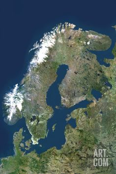 Satellite Image of Scandinavia Photographic Print at Art.com