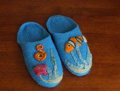 Felted Slippers Felt wool footware house shoes Finest Romney Wool Blue Sea | Felt