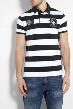 ef600cf2881 White Black Stripe Mesh Rowing Polo Shirt by Polo Ralph Laur Rowing
