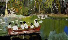 Peter Doig (Scottish, Contemporary, b. Red Boat (Imaginary Boys), Oil on canvas. 200 x 186 cm. © Peter Doig © This. Peter Doig, Art And Illustration, Illustrations, Inspiration Artistique, Kunst Online, Magic Realism, Museum Of Fine Arts, Art Design, Oeuvre D'art