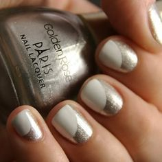 Cool White and Silver Nail Design - could do this with neutral pink and silver...