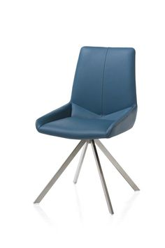 Chair Levi, available in 10 colours leather. Choose between 4 different stainless steel frames.