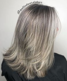65 Gorgeous Gray Hair Styles - Medium Cut with Feathered Ends - Grey Blonde Hair, Long Gray Hair, Purple Hair, Green Hair, Gray Hair Colors, Grey Hair Young, Grey Brown Hair, Medium Hair Styles, Curly Hair Styles