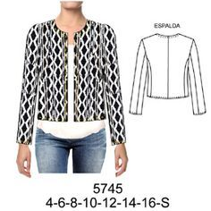 moldes para hacer buzos y cardigans de telas de lanilla para damas - Buscar con Google Blazer Pattern, Jacket Pattern, Chanel Style Jacket, Jacket Style, Sewing Clothes, Diy Clothes, Diy Fashion, Fashion Outfits, Fashion Design