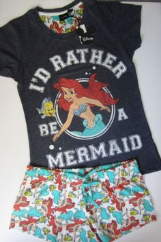Primark Ladies Disney Ariel The Little Mermaid Shorts & T Shirt Pyjama Set CUTE! | eBay