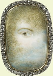 The eye of Mrs Maria Anne Fitzherbert, secret wife of the Prince Regent. Watercolour on ivory, 1786