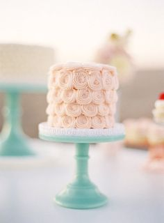 Rose cake on jade milk glass cake stand Pretty Cakes, Cute Cakes, Beautiful Cakes, Amazing Cakes, Beautiful Desserts, Mini Cakes, Cupcake Cakes, Cream Wedding Colors, Purple Wedding