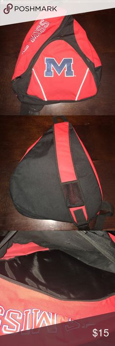 Ole Miss one shoulder backpack I used this backpack maybe 2 times to football games. very roomy, comfortable backpack. no signs of wear or damage. needs a good ole miss fan to wear it around! Bags Backpacks