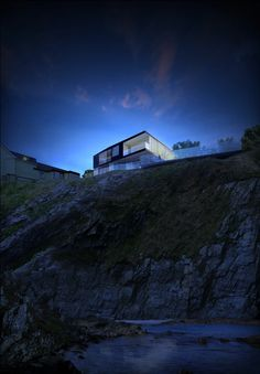 Tŷ Heddfan by Hyde + Hyde Architects, Dawn - looking up from the secluded cove