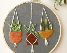 hanging plants embroidery hoop