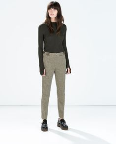 ZARA - WOMAN - PATTERNED TROUSERS WITH BUTTON