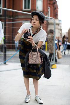 On the Street….Rei Shito, London « The Sartorialist The Sartorialist, Tweed, Kalter Winter, Metallic Oxfords, Boyish Girl, Burberry Skirt, Girls With Cameras, Girly, Vogue