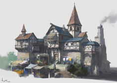 Practice and Painting process, ling xiang Fantasy City, Fantasy Castle, Fantasy House, Fantasy Places, Medieval Fantasy, Fantasy Concept Art, Game Concept Art, Environment Concept Art, Environment Design