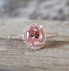 ON HOLD 1.53 Cts. Pink Peach Sapphire Diamond Halo Ring in