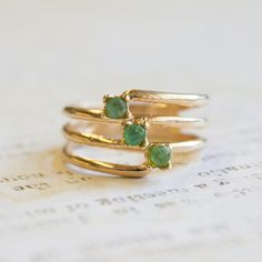 Vintage 1980s 3 Genuine Emeralds 18k Gold Electroplated Ring Made in USA Pinky Ring #R976