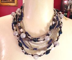 Premier Designs True Blue and Chambray necklaces doubled and layered