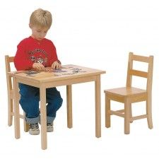 Deluxe Maple Table/Chairs Set (square) by J.B Poitras 302 Includes 1 Table & 2 Chairs Very Strong Solid Wood Non-toxic finish All corners rounded and smooth Chairs feature mortise and tenon construction Glides under all legs Size: Table 24 x 18 x Kids Table Chair Set, Kid Table, Table And Chairs, Sewing Room Furniture, Kids Furniture, Classroom Furniture, Kitchen Bookcase, Red Oak, Chair And Ottoman