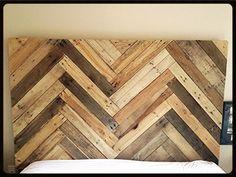 Chevron headboard recycled wood
