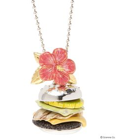 Summer of Love Burger necklace <Pineapple/Lettuce/Bacon/Cheese/Meat×Buns(Silver)+Hibiscus>