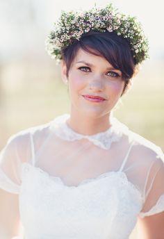 Waxflower crown, Peter Pan collar, wedding style, pixie cut, hair ideas // Emilyanne Photography
